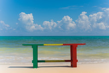 Reggae Colors Wood Bench With ...