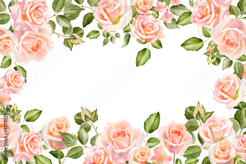 Watercolor tender background with blush roses, leaves and buds isolated on a white Wallpaper Mural