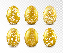 Gold Easter Egg With Floral Pa...