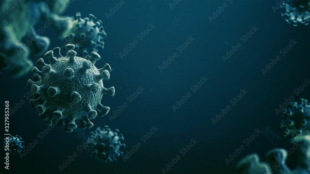 Fototapeta CoronaVirus Epidemic. HIV CoronaVirus, Flu. Blue Virus Infection Concept - 3D Illustration