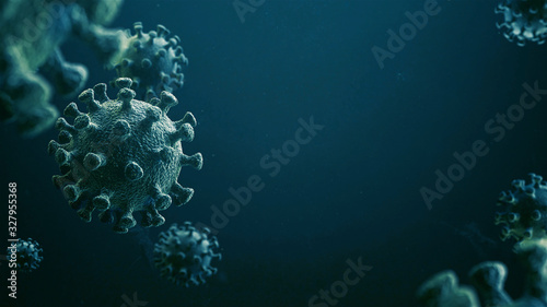 CoronaVirus Epidemic. HIV CoronaVirus, Flu. Blue Virus Infection Concept - 3D Illustration #327955368