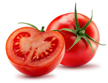 Tomato With Half Of Tomato Isolated On A White Background