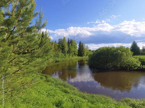 Fotografie, Obraz Winding forest river Letka, Komi Republic, Russia