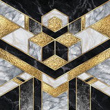digital illustration, abstract art deco background, modern mosaic inlay, texture of marble agate and gold minimal geometric pattern, artificial stone, marbled tile, luxury fashion marbling design - 327968762