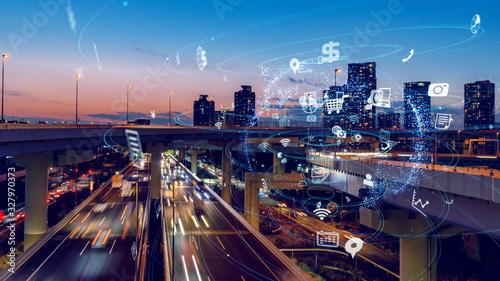 都市とネットワーク Wallpaper Mural