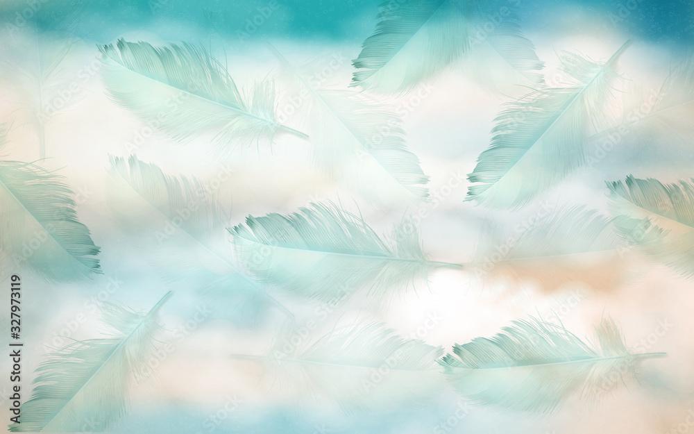 hand drawn feather modern 3D minimalist background wall