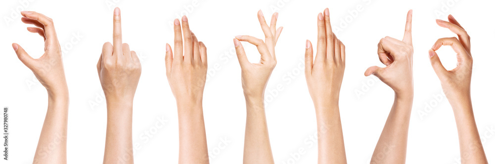 Fototapeta A set of hand gesture isolated on white.