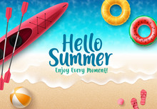 Hello Summer Vector Banner Des...
