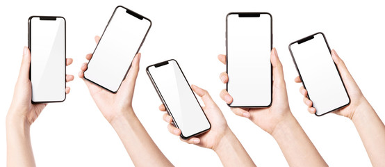 A set, group of Woman hand hold a smart phone isolated on white.