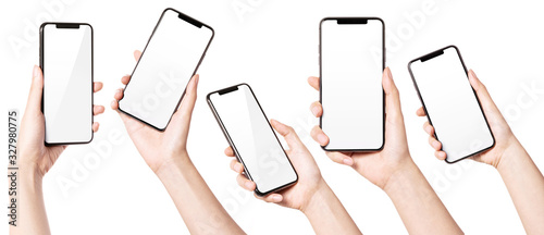 Fotografía A set, group of Woman hand hold a smart phone isolated on white.