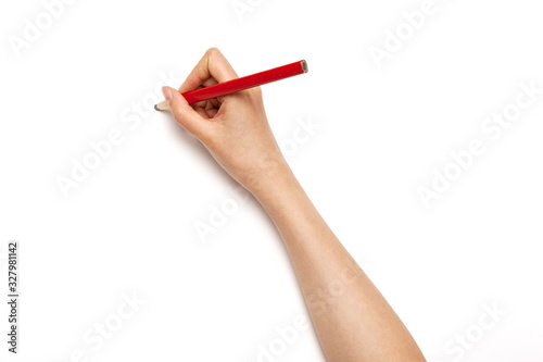 Woman hand hold a red pencil isolated on white. Wallpaper Mural