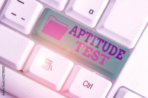 Photo Text sign showing Aptitude Test