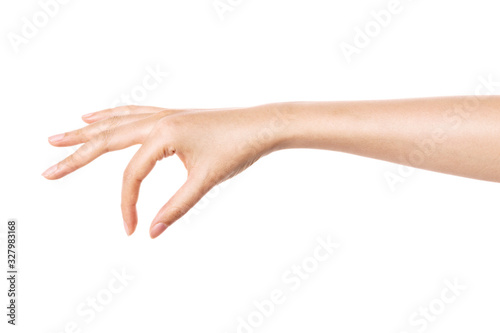 woman hand gesture (hold, pick, measure,estimate) isolated on white Fototapete