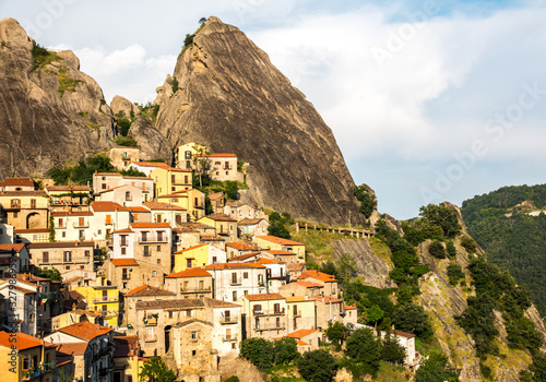 Panoramic view of Castelmezzano, tipical italian little village on appenini mountains, province of Potenza, in the Southern Italian region of Basilicata