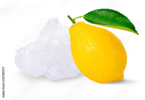 Crystal alum stone with fresh organic yellow lemon lime fruit isolated on white background Canvas Print
