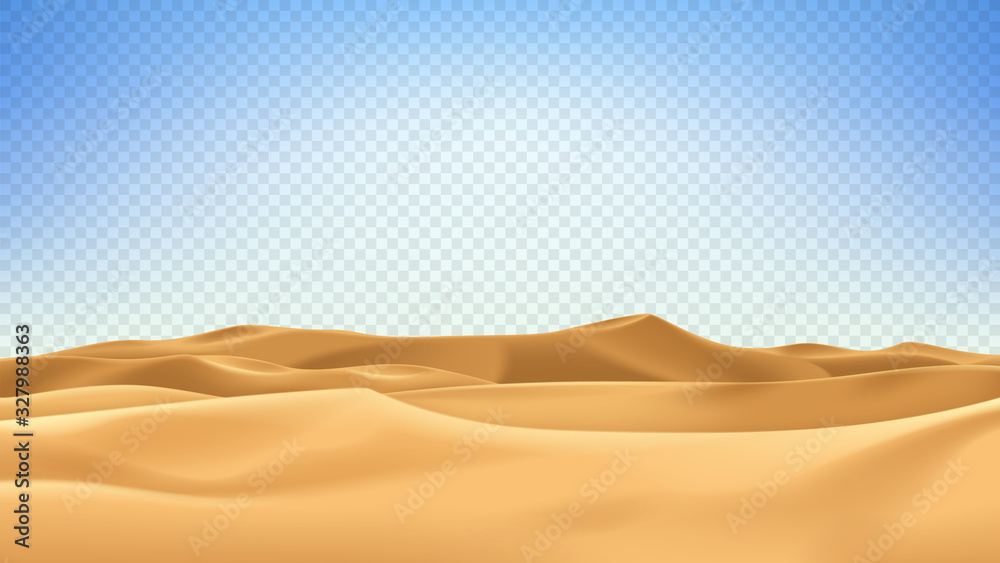 Fototapeta Realistic desert landscape isolated on checkered background. Beautiful view on realistic sand dunes. 3d vector illustration of sandy desert.
