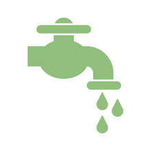 Faucet With Water Drops Icon, ...