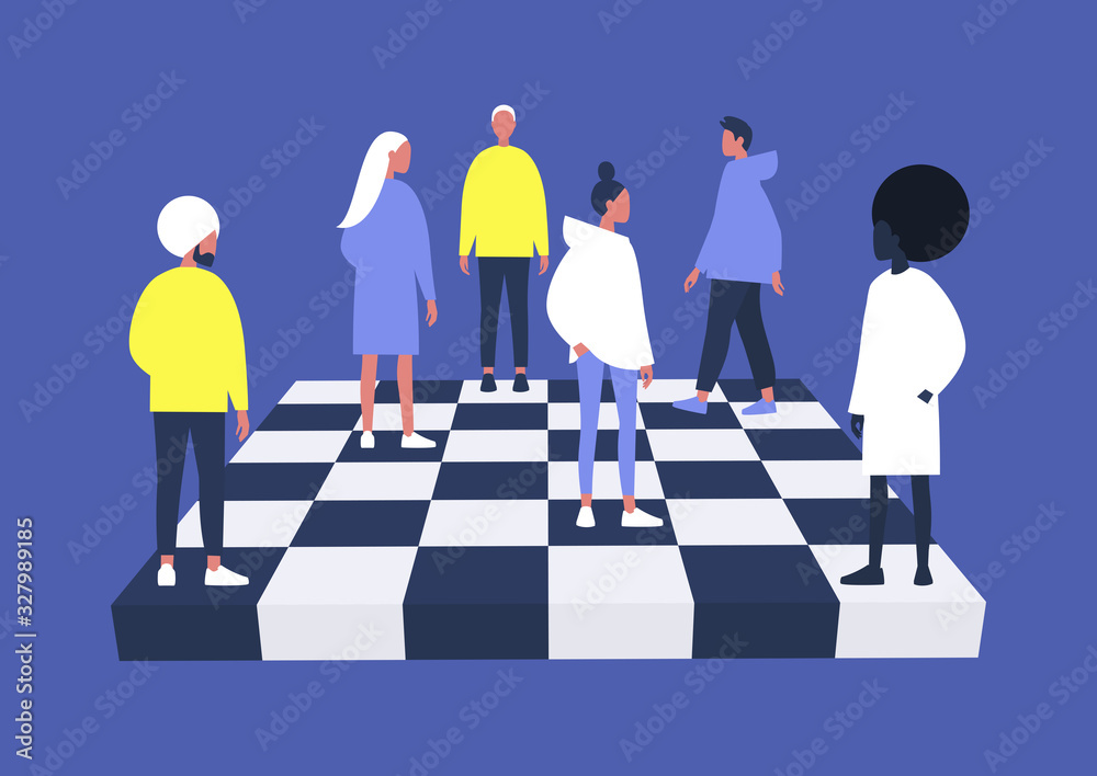 Fototapeta A group of diverse characters playing chess on a chessboard, management concept