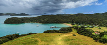 Panorama Of Urupukapuka Island In The Bay Of Islands, New Zealand. A Squall Is Approaching From The Sea