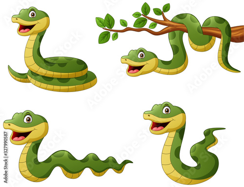 Fotografia Set of funny green snake cartoon. Vector illustration