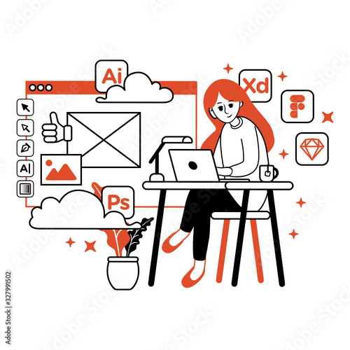 Freelance Graphic Designer Girl Working on Desk Canvas Print