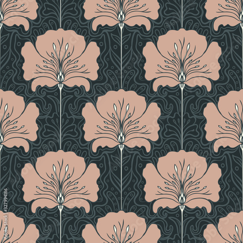 Vintage seamless pattern with pink flowers. Art nouveau style. Vector illustration. Vintage Fabric, textile, wrapping paper, textiles, wallpaper. Retro hand drawn. Wall mural