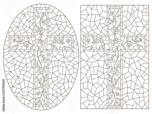 Fotomural Set of outline illustrations of stained glass Windows with Christian crosses dec