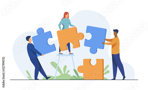 Fotomural Partners holding big jigsaw puzzle pieces flat vector illustration