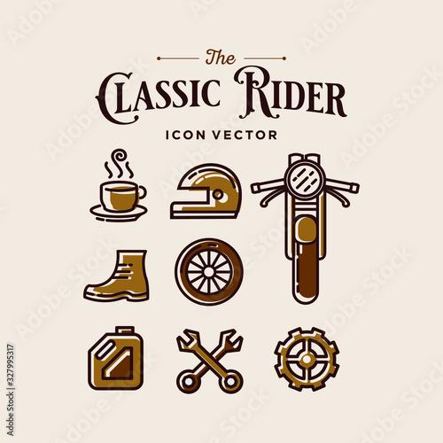 Photo rider biker logo icon set collection cafe racer retro motorbike accessories icon