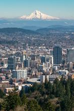 Portland Oregon And Mount Hood...