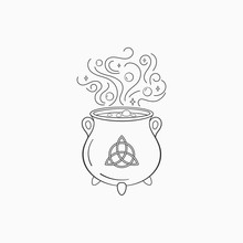 Witch Cauldron With Bubbling Liquid. Magic Symbol Cauldron , Monochrome Vector Illustration, Isolated On White Background