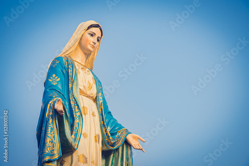 Canvas Print Close-up of the blessed Virgin Mary statue figure