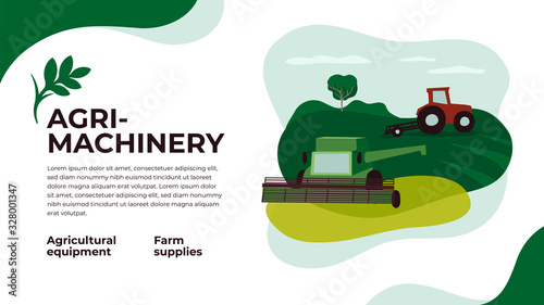 Fototapeta Layout with agri machinery and farm landscape. Vector illustration of farming, industry, technology in agriculture. Website or flyer template with tractor and combine harvester on agricultural fields obraz