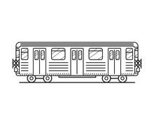 Linear Metro Train Icon Isolat...