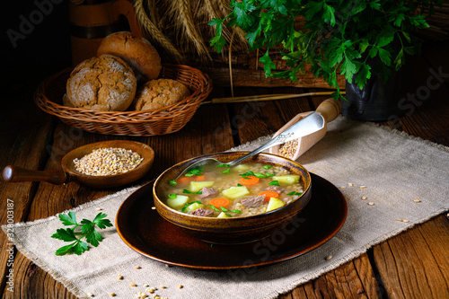 fototapeta na lodówkę krupnik a delicious Polish barley soup