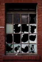 Broken Window Panes In Abandon...