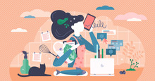Multitasking Busy Mom At Home Concept, Vector Illustration Tiny Female Person Concept