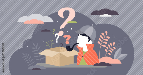 Fotografia Mystery box wonder concept, flat tiny person vector illustration