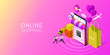 Happy couple with online shopping on mobile application. Isometric mobile store. Vector illustration.