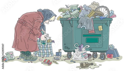 Elderly poor woman looking for food and collecting leftovers in her old bag near Wallpaper Mural