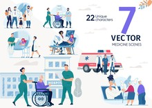 Family Doctor, Ambulance Service Team, Hospital Or Rehabilitation Service Nurses, Senior And Disabled Patients Characters, Work Scenes Set. Medical Help Concepts Trendy Flat Vector Illustrations