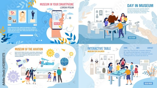 Obraz Art Museum Smartphone Application, Natural History and Aviation Museum, Interactive Table Technology Solution Web Banner, Landing Page Set. People Visiting Exhibition Trendy Flat Vector Illustration - fototapety do salonu