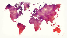 World Watercolor Map In Front ...