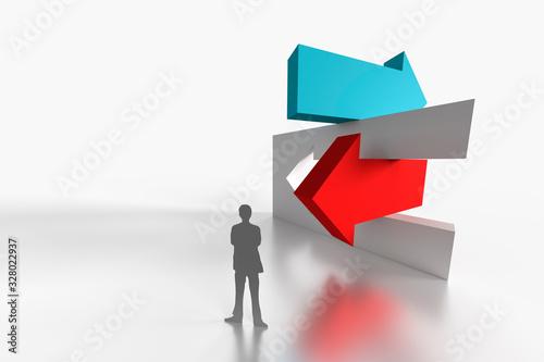 Photo 異なる方向を示す立体的な矢印とビジネスマンの抽象イメージ