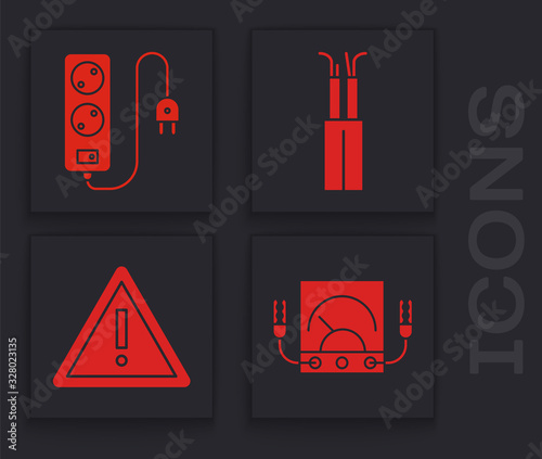 Photo Set Ampere meter, multimeter, voltmeter, Electric extension cord, Electric cable and Exclamation mark in triangle icon