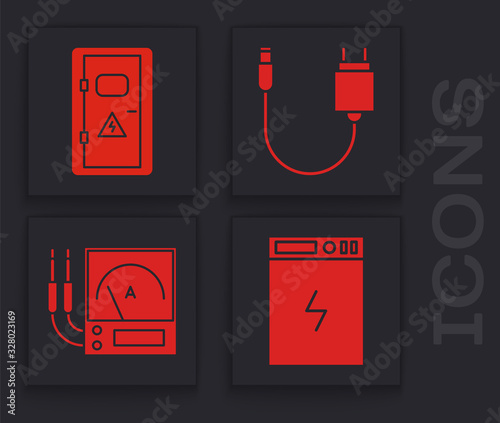 Set Power bank, Electrical cabinet, Charger and Ampere meter, multimeter, voltmeter icon Canvas Print