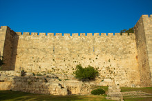 Israel Jerusalem Ancient City Fortification Castle Building Stone Wall Protection From Crusaders Historical Destination Site Of Holy Land In Middle East Region