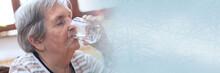 Elderly Woman Drinking Water; ...