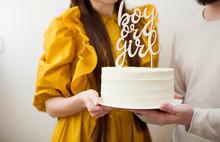 "White ""Boy Or Girl"" Cake"