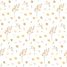 Hand Drawn Seamless Pattern Of Oat Grains, Flakes, Oat Milk, Bottles. Healthy, Organic Daily Nutrition. Cute Doodle Vector For Print, Card, Poster, Wrapping Paper On White Background.